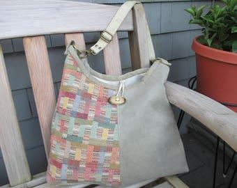 Faux Suede Hobo Bag, Vegan Handbag, Suede Tote by DarkHorsesDesigns
