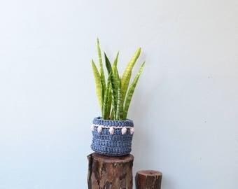 Crochet Bobble Plant Basket