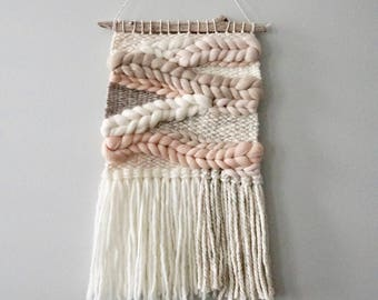 Woven Wall Hanging / Weaving / Tapestry / Wall Art / Nursery Decor / Home Decor / Blush, Pink, Peach, Beige, White, Neutral