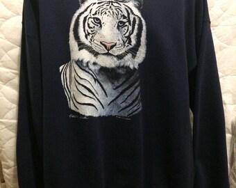 vintage champion white tiger sweater size XXL