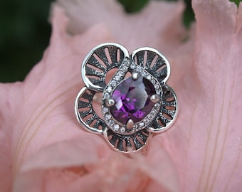 Ring with flower, Flower ring, Purple stone, Ring with purple flower, Purple stone ring, Sterling silver ring, Ring with blacking