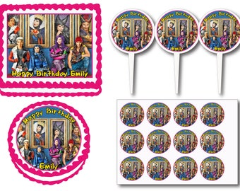 Descendants Birthday Party Edible Cake Cookie Toppers or Plastic Cupcake Pick Stickers Decoration Baking Supply