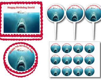 Jaws Shark Birthday Party Edible Cake Cookie Toppers or Plastic Cupcake Pick Stickers Decoration Baking Supply