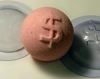 Sphere dollar 60 mm bath bomb mold, sphere dollar set of 2 mold, bath bomb molds, sphere dollar bomb mold