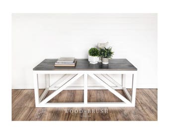 Farmhouse Coffee Table Modern Style Living Room Fixer Upper Solid Wood Furniture Rustic