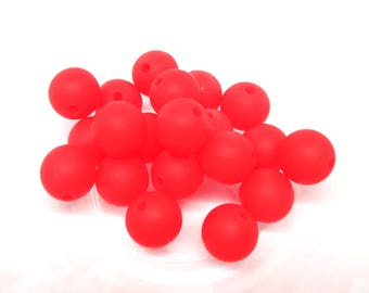 10 12mm - red Silicone beads