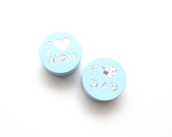 I Love Mom, I Love Dad Glitter soft blue wooden bead