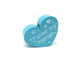 Wooden heart bead I love my mom Turquoise