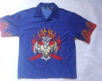 Sacred Heart & Flames City Limits Graphic Button Up T-Shirt