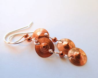 Hand-hammered Copper Double Rivet Earrings
