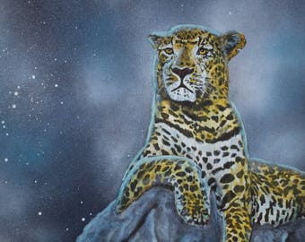 Fantasy painting acrylic painting mural - Leopard