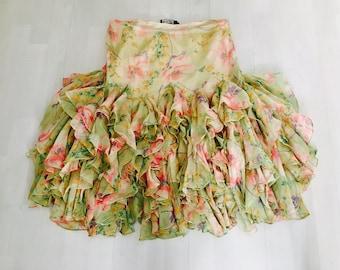 Vintage Ralph Lauren Silk Frill Skirt Size 4