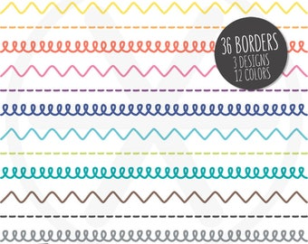 Borders Clipart. Colorful Doodle Loop Digital Borders Clip Art. Hand Drawn Chevron Images. Commercial Use - PNG Instant Download