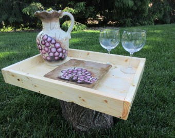 """Wood Serving Tray - Natural Pine Wood 20"""" X 14"""""""