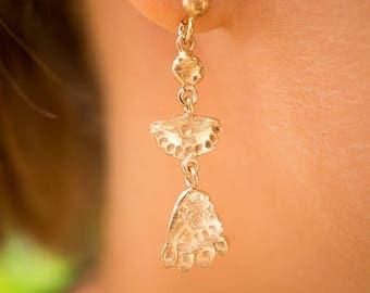 Matoaka inspired rose gold plated silver dangle earrings