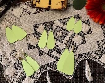 Solid Floral Petal Shape Earrings - Lemon Yellow Earrings - Petals Earrings - Flower Petal Earrings - Handmade Earrings