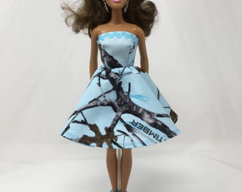 "Camouflage Dress-11.5"" Doll Clothes-Blue Doll Dress-Blue Camouflage Dress-Handmade Doll Clothes-Girls Birthday Gift-Toys for Girls"