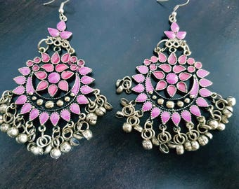 Pink Enamel Silver oxidised long chandelier chandbalis party festive wear