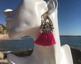 Pink Fuchsia Tassle and Crystal earrings