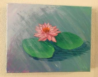 Lotus and Lily Pads- Acrylic on 8x10 canvas