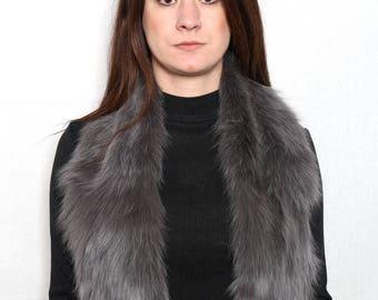 Beautiful Gray Fox Fur Collar & Scarf
