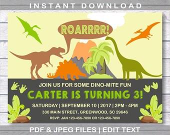 Dinosaur Birthday Invitation, Dinosaur Invitation, INSTANT DOWNLOAD, Dinosaur Birthday, Dinosaur, Dinosaur Birthday Party, Dinosaur Party