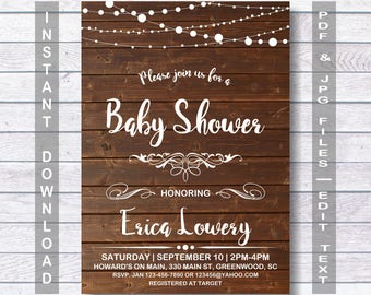 Baby Shower Invitation, Instant Download, Rustic Baby Shower Invitation, Rustic Baby Shower, Rustic, Printable Baby Shower Invitation