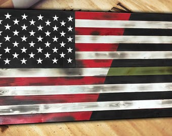 Thin Green Line Wood Wooden American Flag Burnt Distressed Torn Large