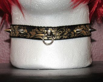 Spiked Black and Gold Collar