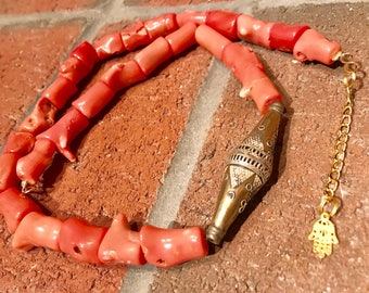 Vintage Orange bamboo coral and Turkmen brass & Silver Bicone Ethnic chunky handmade bohemian boho necklace.