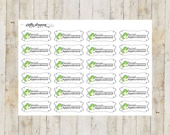 Facial Appointment Stickers by Pretty Planning! Colorful and fun stickers ideal for planning your life!