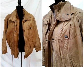 moto leather jacket brown leather jacket vintage bomber jacket, motorcycle jacket, leather bomber jacket, vintage brown jacket men's large
