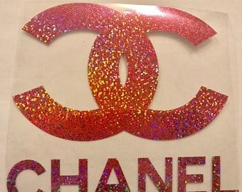 Designer Glitter pink Chanel inspired iron on transfer
