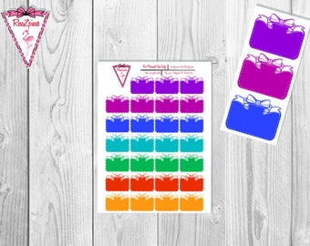 Printable White Dotted Bow Boxes (Dark Colors) - Functional Stickers w/Cut Line