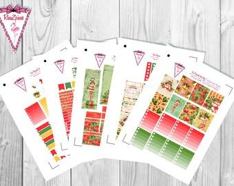 Christmas Joy (chocolate skin tone) - Printable Erin Condren Weekly Kit w/Cut Line