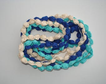 Crochet Cotton Necklace, Women's Necklace, Summer Necklace, Set of 3 (royal blue, turquoise, beige)