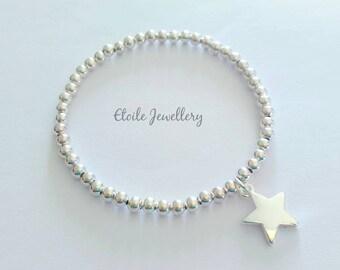 Silver Star Bracelet,Stretch Bracelet,Beaded Bracelet, Stacking Bracelet, Bracelets for Women,Gifts for Her, Silver Star Charm, Silver Stars