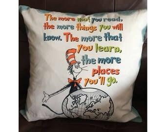 Dr Seuss Reading Throw Pillow