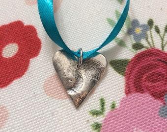 Double print fingerprint / thumprint charm handmade silver keepsake