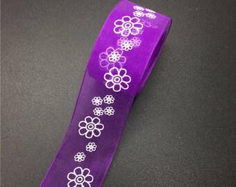 5 yds Organza Ribbon, Organza Printed Ribbon, Floral Organza Ribbon, Craft Ribbon, 1 inch (25mm), Printed Ribbon,USA Seller, Purple Ribbon
