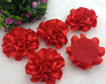 5pcs, Red Satin Flower Applique, Red Satin Flower, Red Ribbon Flower Applique, 50mm (2 inches), USA Seller,
