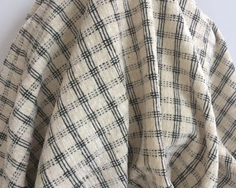Chenille Ivory and Black Check - Sold by the Yard