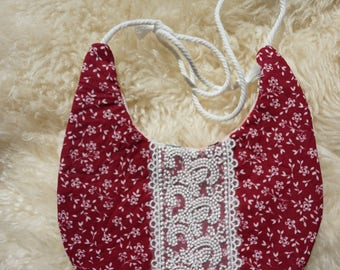 Red Lace and Pink Poppy tie bib Long