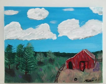 Old Barn in Field Acrylic Painting on 8x10 Stretched Canvas