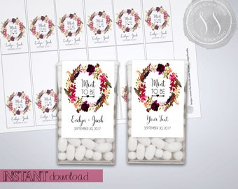 Custom Tic Tac Labels, Mint To Be Wedding Favors, Bridal Shower Favors