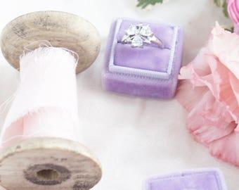 Velvet Ring Box Vintage Style with Monogram - The Ophelia Velvet Ring Box