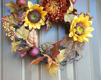 Sunflowers in Fall Wreath