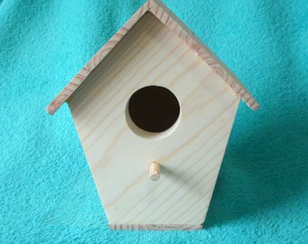 Bird House, Unfinished,  Ready to Paint, Made of Pine, Fun Children's Craft, Scouting Project, Durable well Constructed, Light Weight,