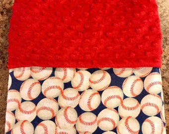 Infant/Toddler size BASEBALL theme Snuggly flannel over Dimple dot Minky blanket!!