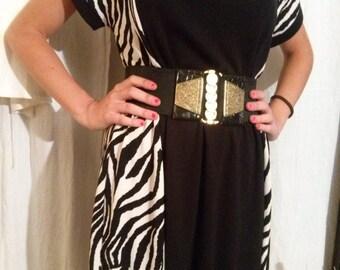Zebra pattern short sleeve dress